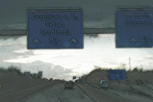 A4 am Hermsdorfer Kreuz Richtung Erfurt
